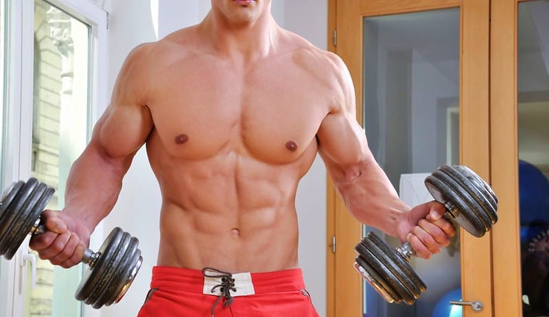 A Man With a Muscular Torso Holding Dumbbells