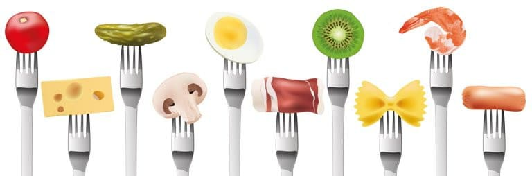 Different Food Items on Separate Forks