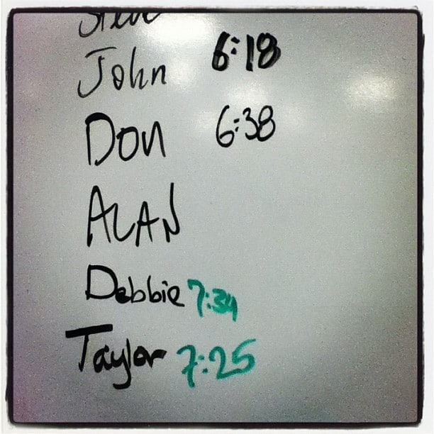 People's Names on a Whiteboard With Their Times for 100 Burpees