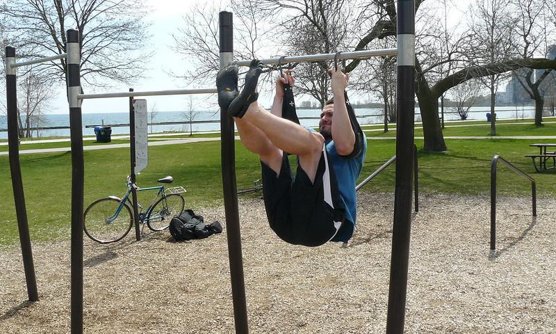 A Man Doing Hanging Leg Raises