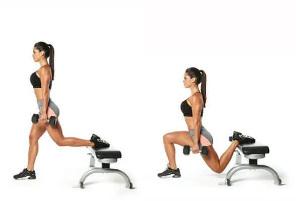A Woman Doing Bulgarian Split Squats