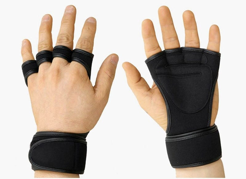 Two Hands Wearing Weightlifting Gloves