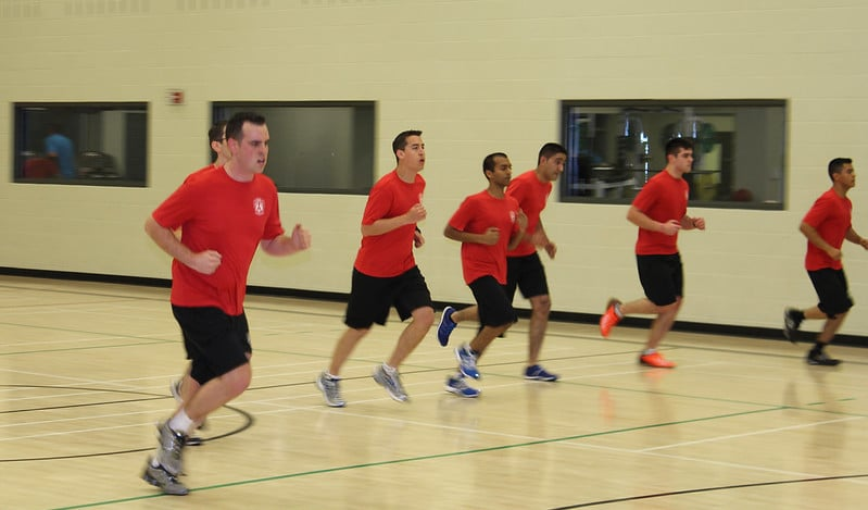 A Group of Men Completing The Beep Test