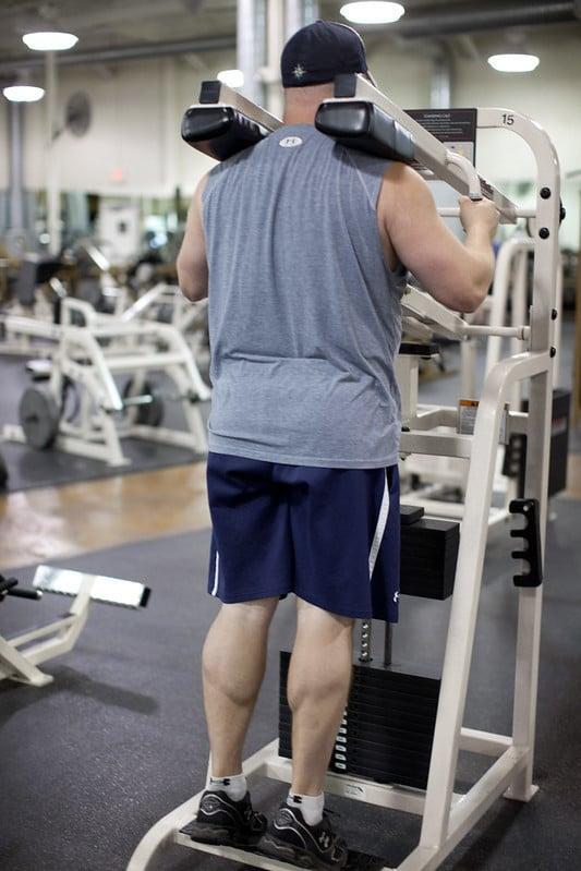 A Man Doing Machine Calf Raises