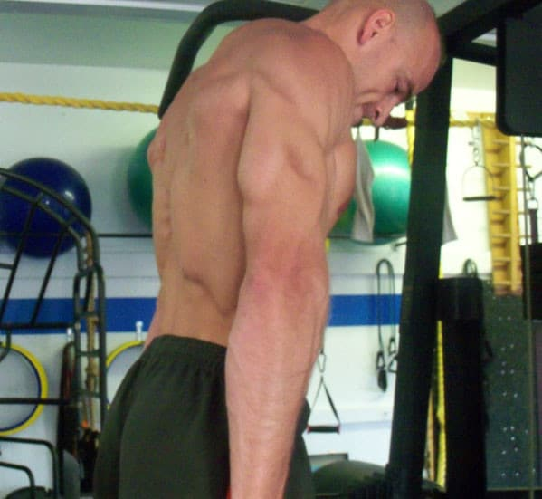 A Man Doing Tricep Dips