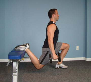 A Man Performing Bulgarian Split Squats