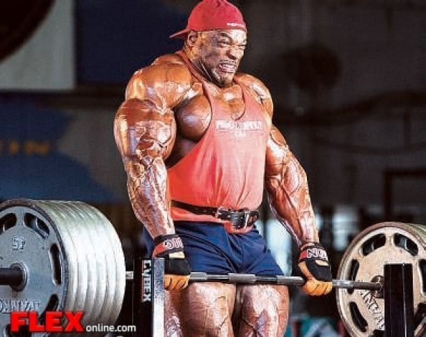 Ronnie Coleman Performing Heavy Shrugs