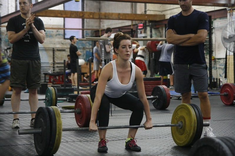 A Woman About to Perform a Deadlift