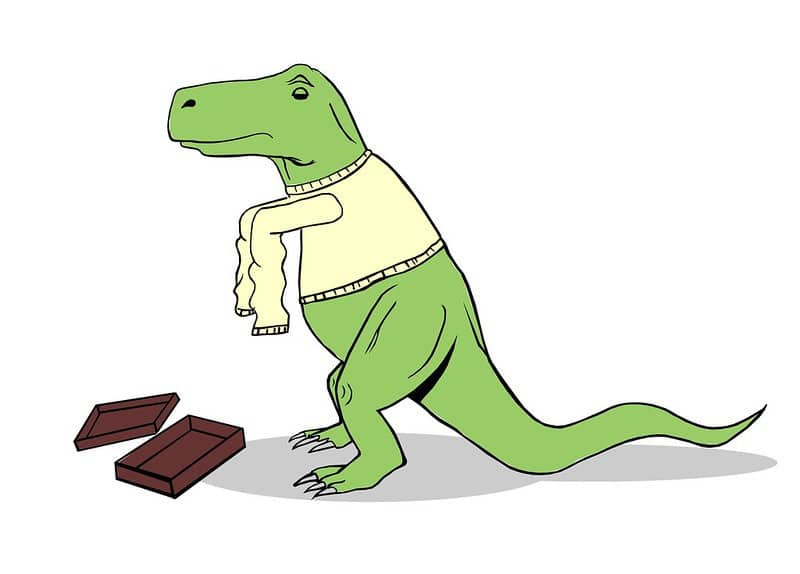 A Cartoon T-Rex Wearing a Sweater Gift