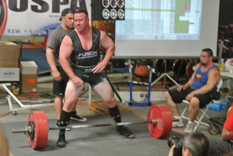 A Powerlifter About to Deadlift