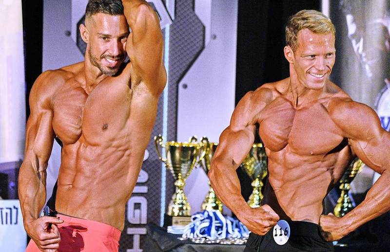Two Bodybuilders Holding a Bodybuilding Pose