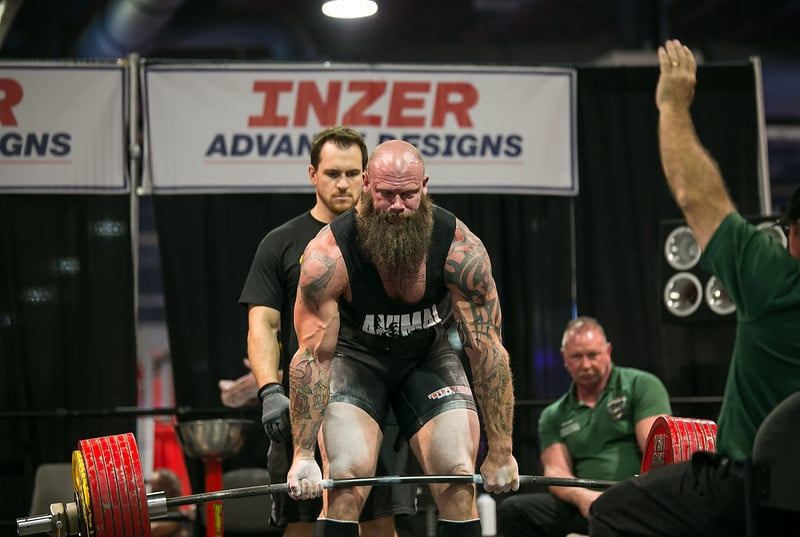 A Powerlifter Performing a Deadlift During a Competition