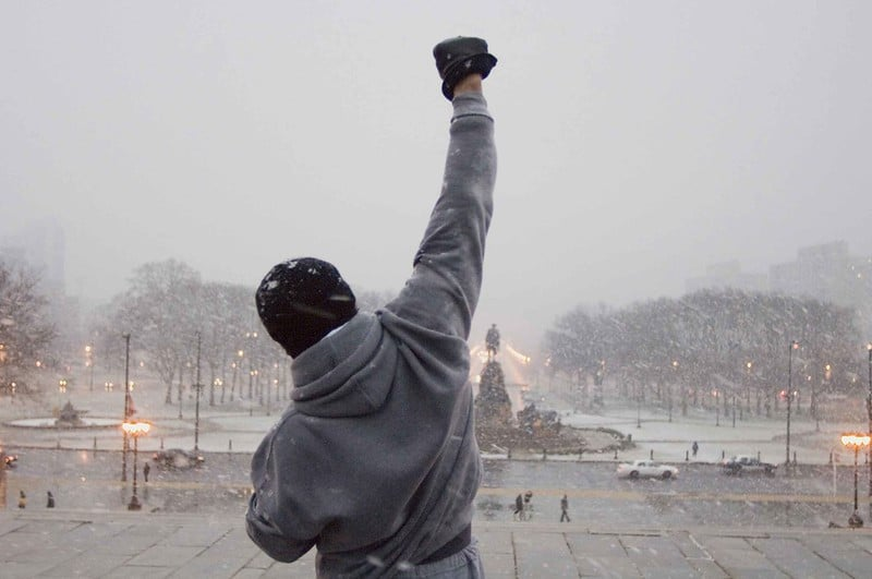 Rocky Standing at the Top of the Steps at the Entrance to the Philadelphia Musuem of Arts