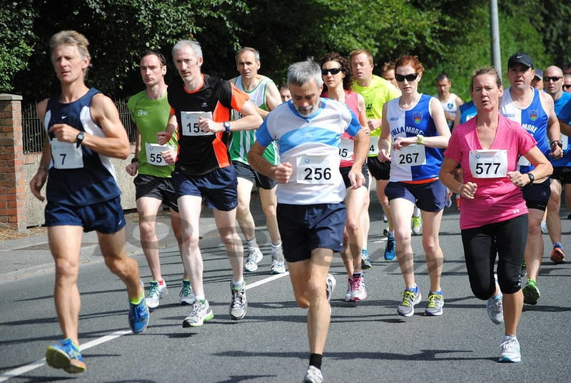 A Group of Marathon Runners Mid-Race