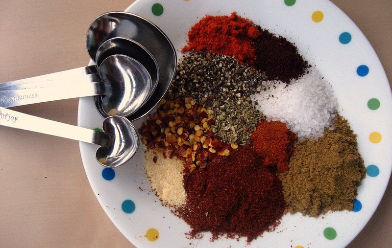 Various Seasonings on a Plate